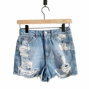 TopShop Moto Ripped Distressed Mom Jean Shorts